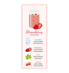 Strawberry smoothie on labelrecipe of detox drink vector