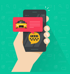 taxi online service with using mobile phone vector image