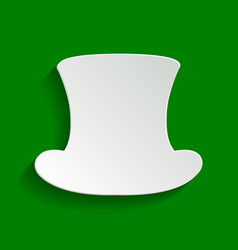 Top hat sign paper whitish icon with soft vector