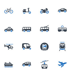 Transportation icons - blue series vector