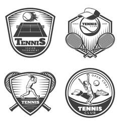 vintage tennis emblems set vector image vector image