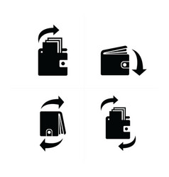 wallet and arrow set icon vector image vector image