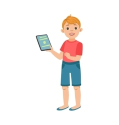 White teenage boy with tablet part of growing vector