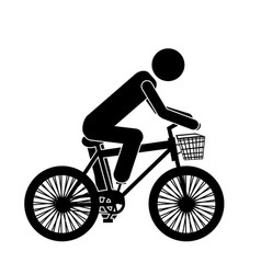 Monochrome pictogram of man in sport bike with vector