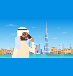 arab man speaking on cell smart phone call over vector image