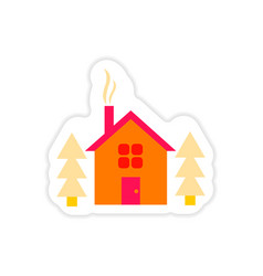 Paper sticker on white background house in forest vector