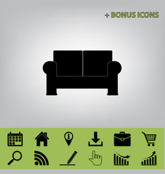Sofa sign   black icon at gray vector