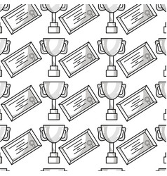 Cup prize symbol and diploma graduation background vector