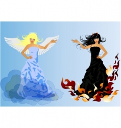 Angel and devil retro woman vector