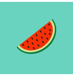 Big watermelon slice cut seed flat design icon vector