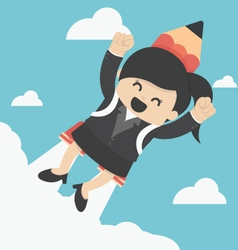 Business woman flying with a rocket pencil vector