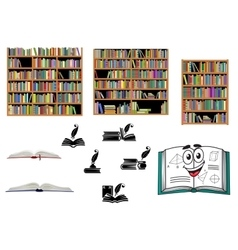 Books education and library objects vector