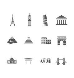 World landmarks silhouette icons set vector
