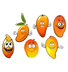 Orange and yellow cartoon mango fruits vector