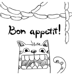 Sketchy cat with sausages bon appetit vector