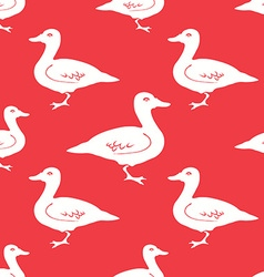 Hand drawn duck silhouette seamless pattern vector