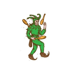 Medieval jester juggling wooden pins drawing vector