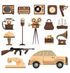 Retro objects set vector