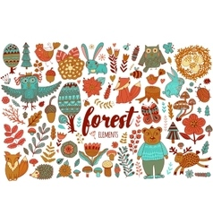 Forest elements in doodle childish style vector