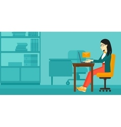 Woman receiving email vector