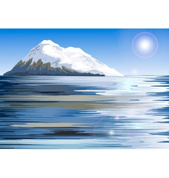 Snowy mountain painting vector