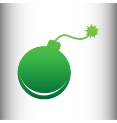 Bomb sign green gradient icon vector