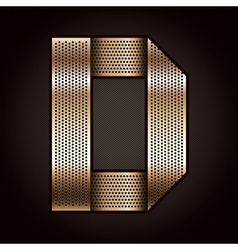 Letter metal gold ribbon - d vector
