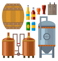 Beer brewing process alcohol factory production vector