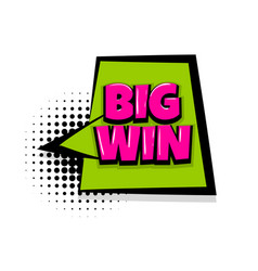 Big win comic text white background vector