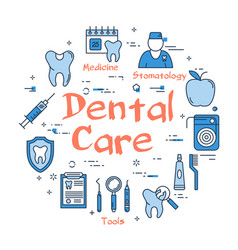 Blue round dental care concept vector