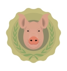 Butchery eco logo pig in laurel wreath no vector