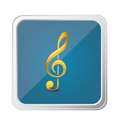 Button of treble clef in yellow with background vector