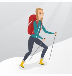 Caucasian mountaineer climbing a snowy ridge vector