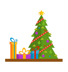 christmas tree with golden star gifts and garland vector image