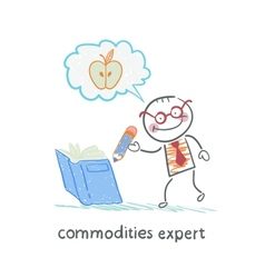 Commodities expert writes in the book and thinking vector