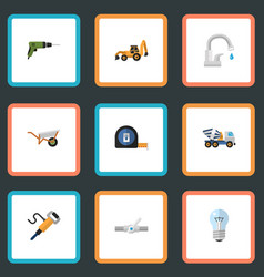 flat icons roll meter bulb excavator and other vector image vector image