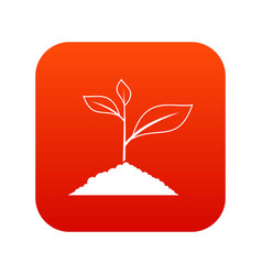 growing plant icon digital red vector image vector image