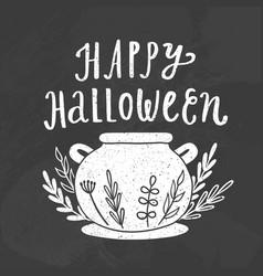 Happy halloween chalk style vector