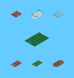 Isometric lifestyle set of ice games run stadium vector