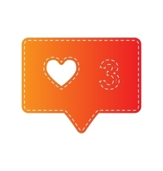 Like and comment sign orange applique isolated vector