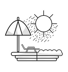 Line sun seat with umbrella to vacation vector