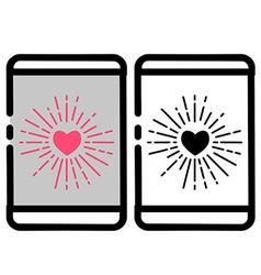 Love burst handphone icon vector