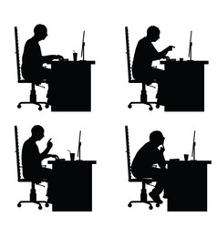 man silhouette sitting with laptop in office vector image vector image