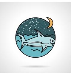 Night seascape flat design icon vector