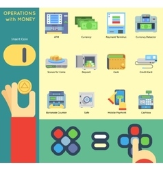 Operation money banking payment atm cash check vector