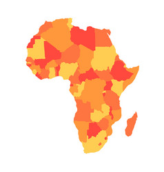 orange political map of africa vector image