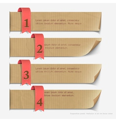 Paper numbered banners design for infographics vector image