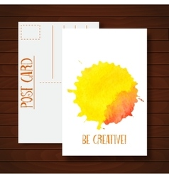 Postcard with watercolor abstract background vector image