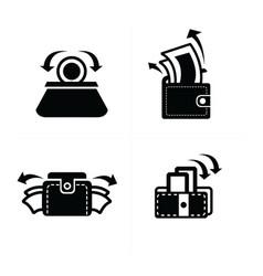 put down money in wallet set icon vector image vector image