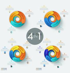 Set of 4 modern circular infographic design vector
